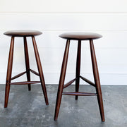 TEAK WOOD STOOL PAIR