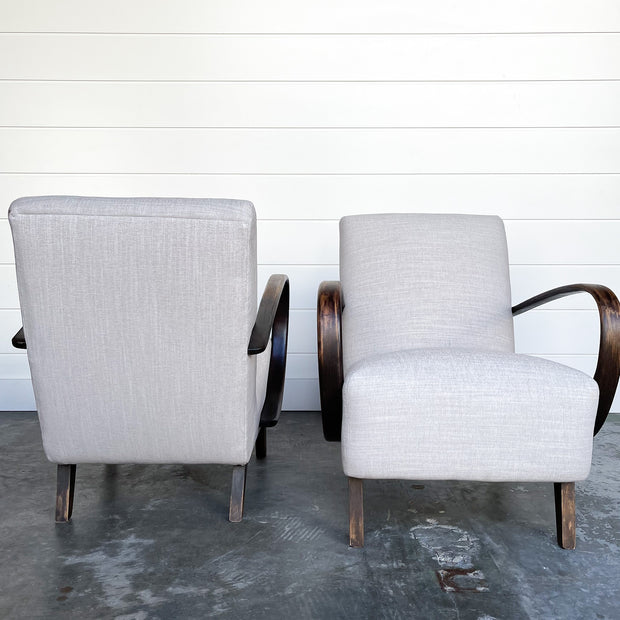 PAIR OF PALE FLAX 1940s LOUNGE CHAIRS