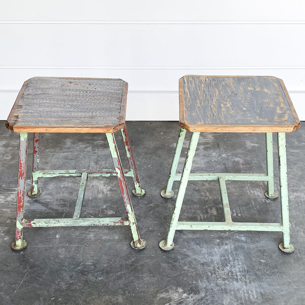 PAIR OF VINTAGE FACTORY STOOLS