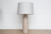 ROUND BLEACHED WOOD LAMP