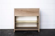 NEW! SOLID OAK & BRASS NIGHTSTAND