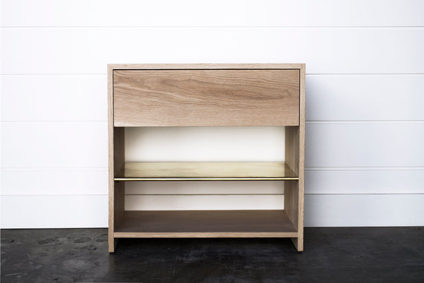 SOLID OAK & BRASS NIGHTSTAND