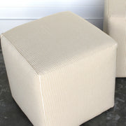 Pair of Cubed Ticking Ottomans