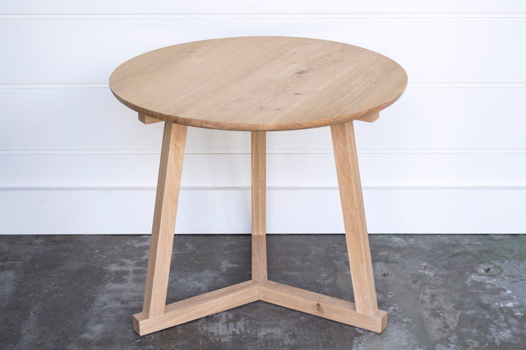 LARGE SOLID OAK STILT SIDE TABLE