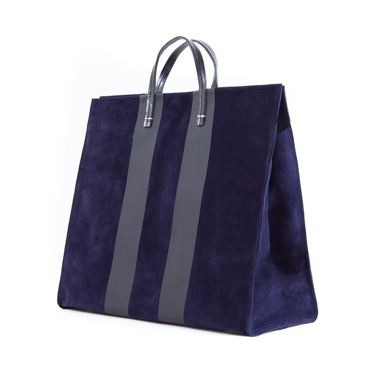 Simple Tote Navy w/Black Racing Stripes