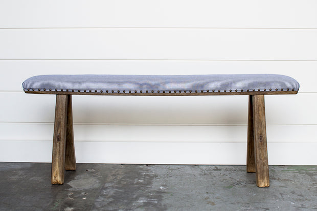 UPHOLSTERED BENCH WITH TICKING STRIPE