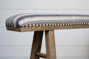 UPHOLSTERED BENCH WITH ANTIQUE TEXTILE