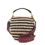 Crossbody Strap Red & Navy Braided w/Black Tabs