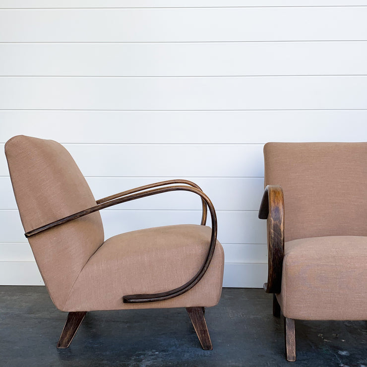 PAIR OF PINK-TAUPE 1940'S LOUNGE CHAIRS