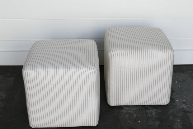 Pair of Classic Stripe Ottomans
