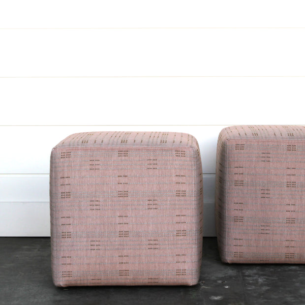 Pair of Pretty in Pink Cubed Ottomans