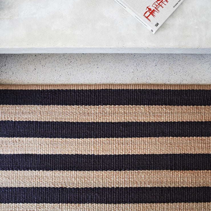 NATURAL & BLACK STRIPED RUG