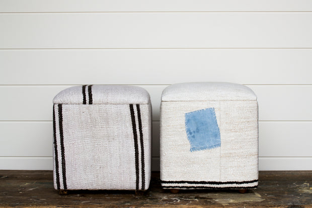 UPHOLSTERED RUG OTTOMAN CUBE