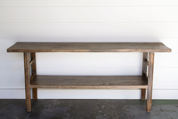 RECLAIMED WOOD CONSOLE WITH SHELF