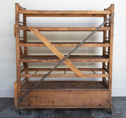 VINTAGE FACTORY SHOE CART ON CASTORS