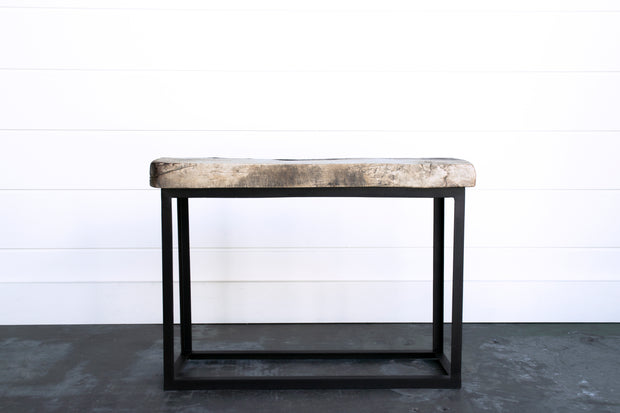ANTIQUE ELM & IRON SIDE TABLE
