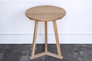 SMALL SOLID OAK STILT SIDE TABLE