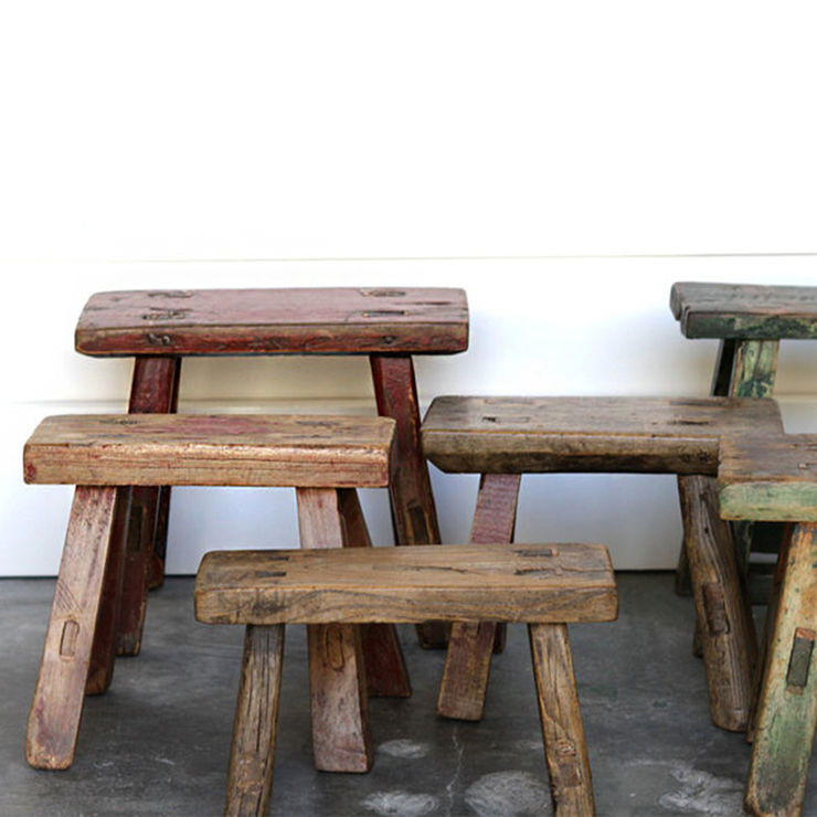 ANTIQUE ELM CHILD'S STOOLS