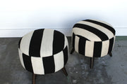 Round Striped Ottomans