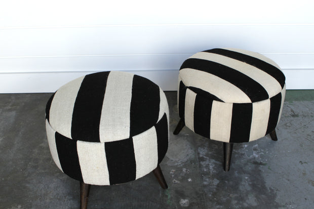 SOLD OUT! Round Striped Ottomans