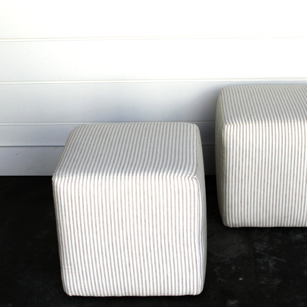 Pair of Tan Striped Ottomans