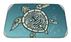 Bath Mat, Swimming Sea Turtle With Polynesian Tribal Pattern