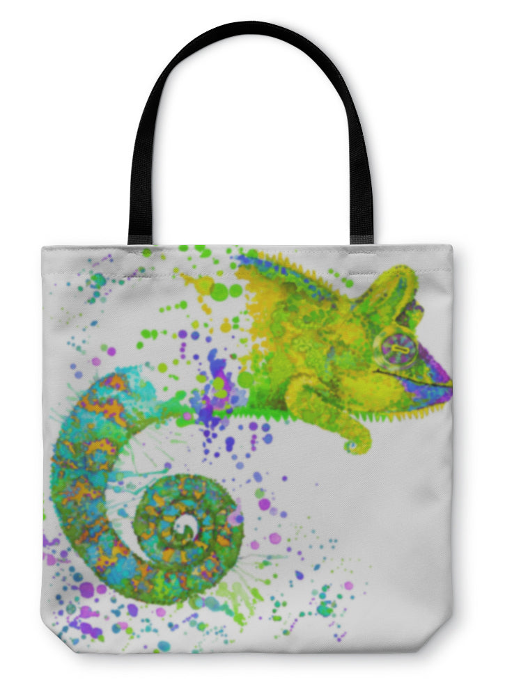 Tote Bag, Chameleon Illustration With Splash Watercolor D