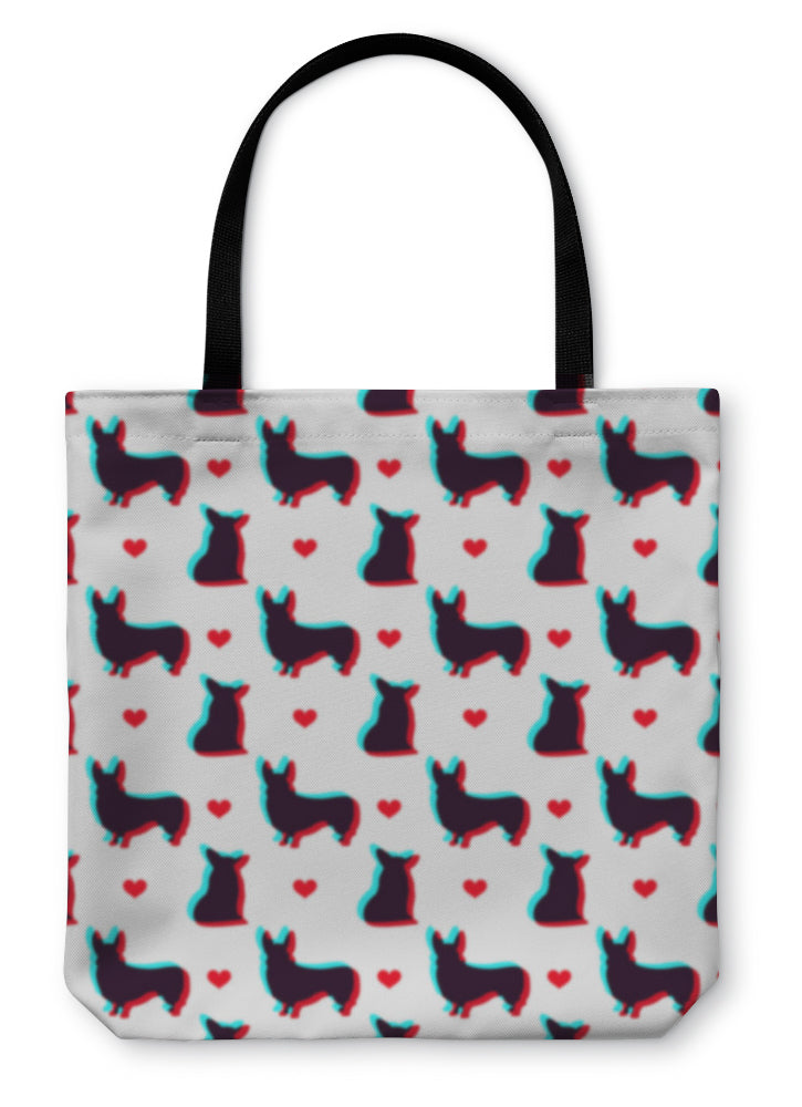 Tote Bag, Corgi Dog With 3d Effect Pattern For Use In Design