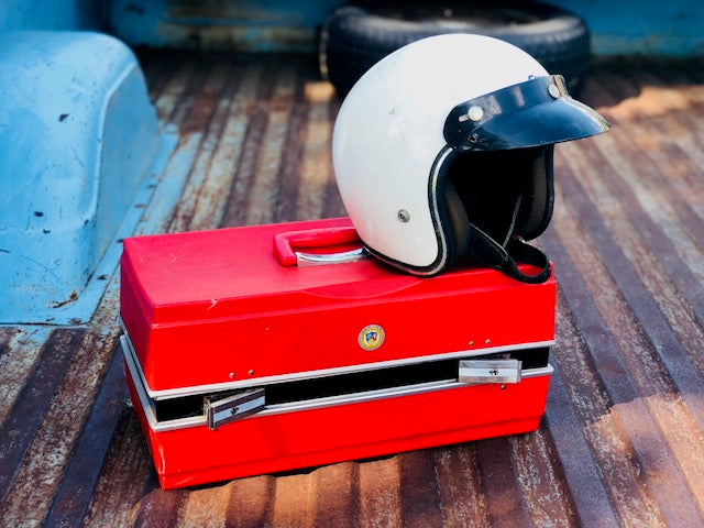 Vintage Riding Helmet and Molded Plastic Box Set