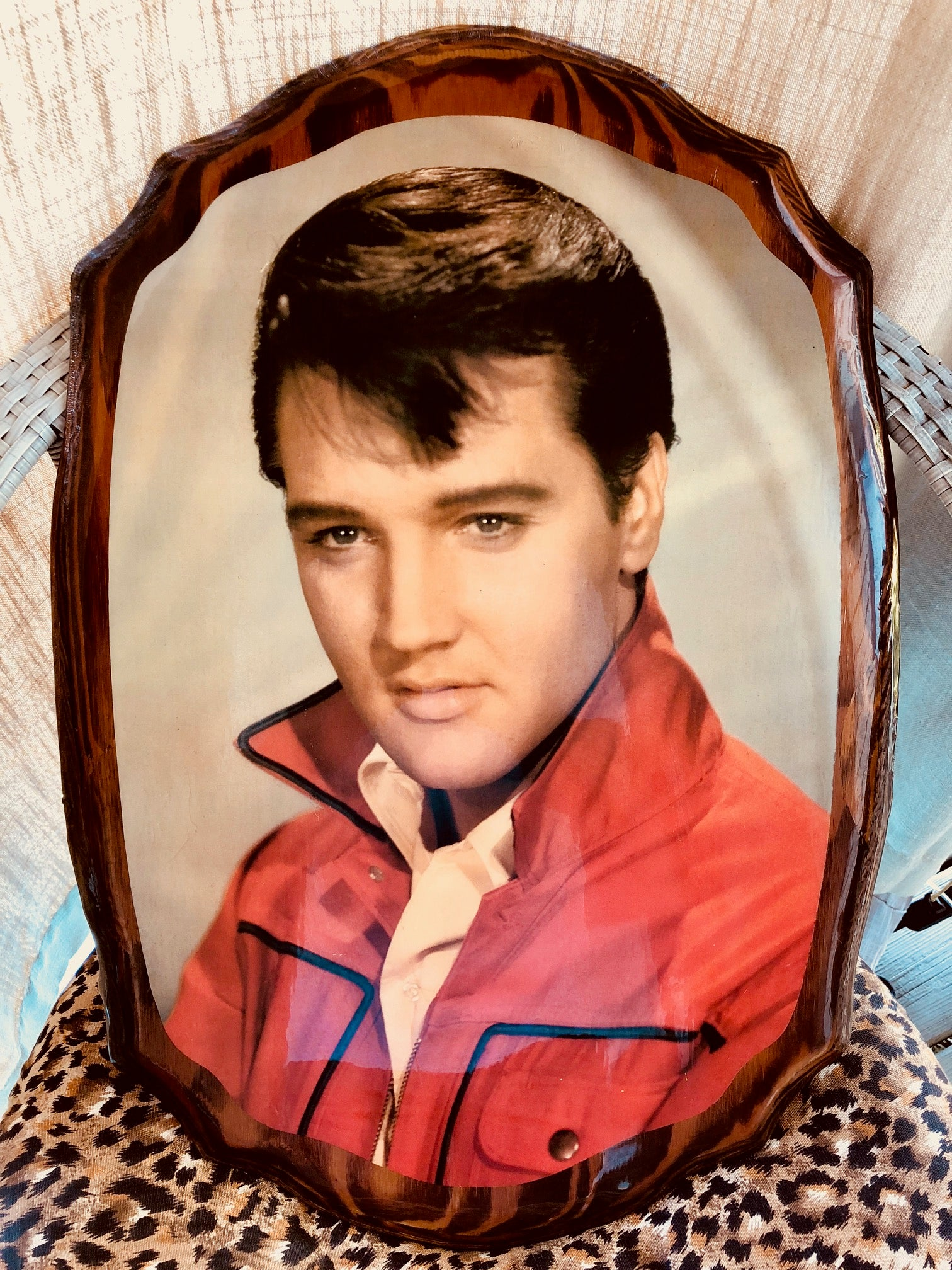 Beautiful Vintage Wooden Elvis Picture