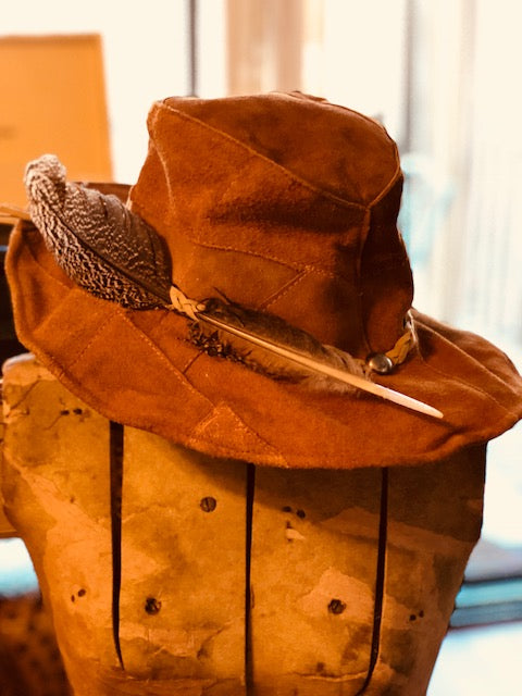 Super Cool True Vintage Leather Hat with Feather Accent!