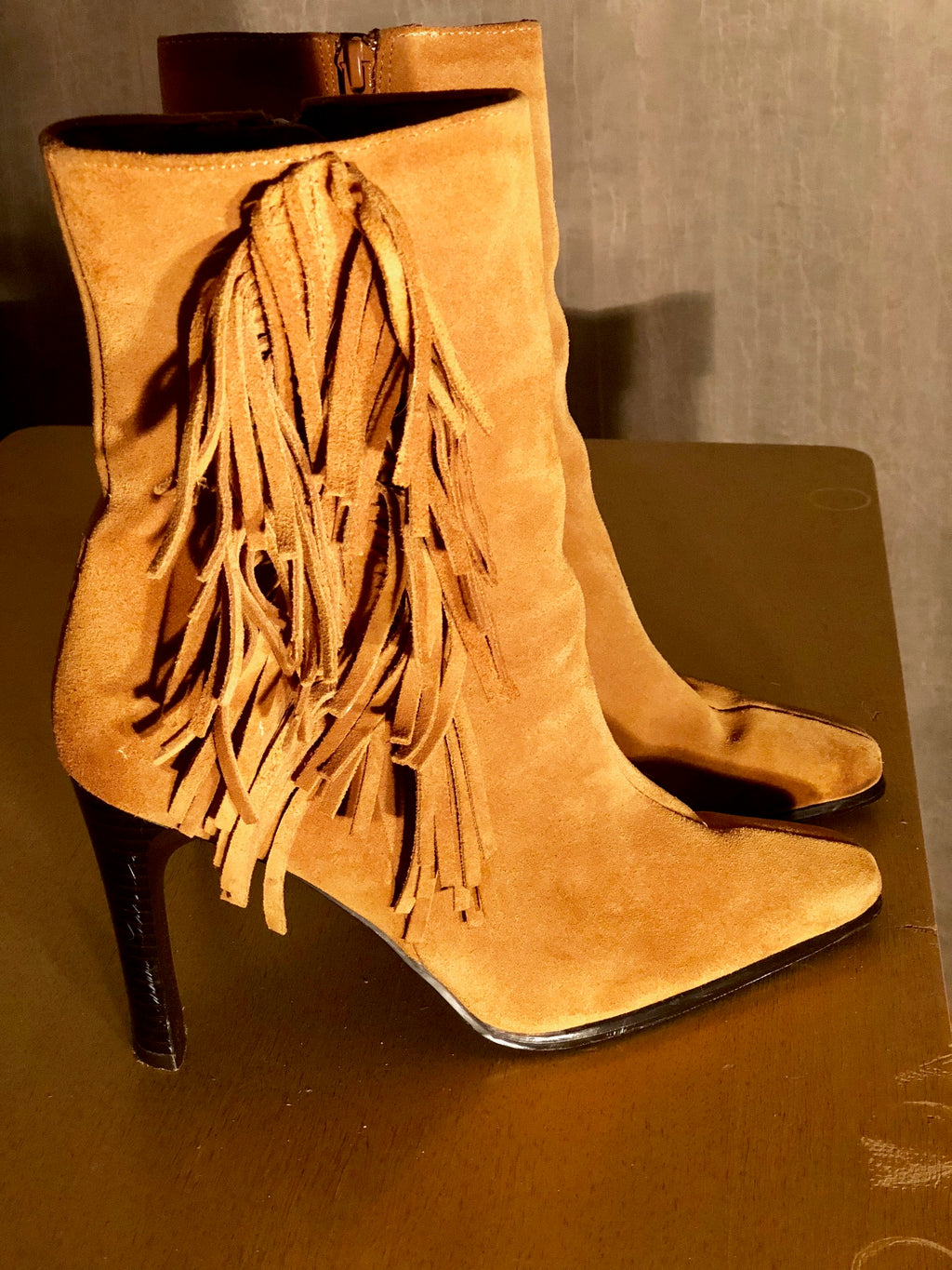 Women's Predictions Leather Collection Leather Upper Fringe Booties!