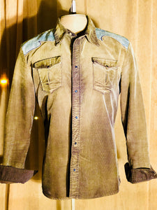 Men's Olive Green Corduroy Distressed Diesel Western Shirt! Size XL