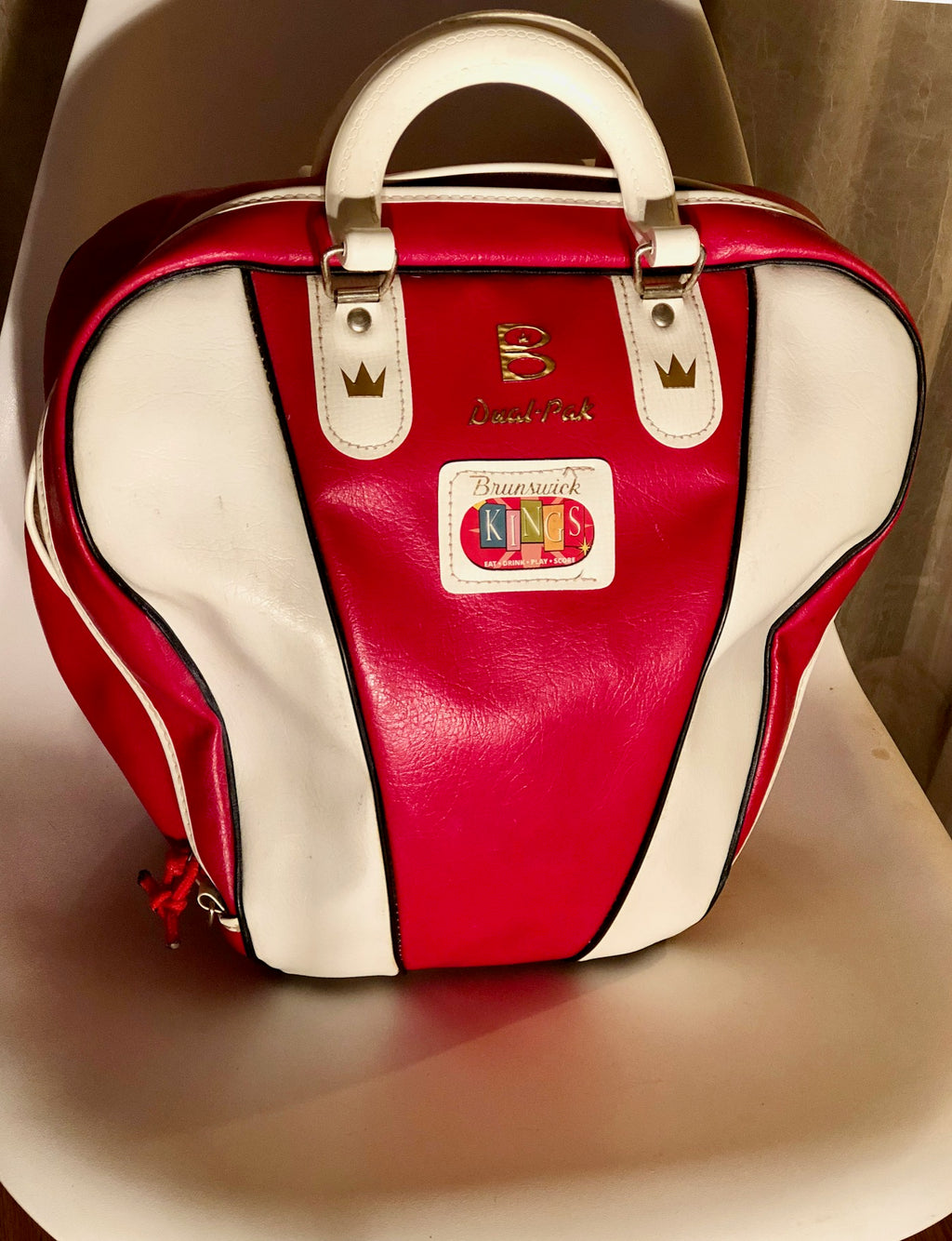 Original Brunswick Red and White Two Toned Vintage Bowling Bag with Original Ball Included!