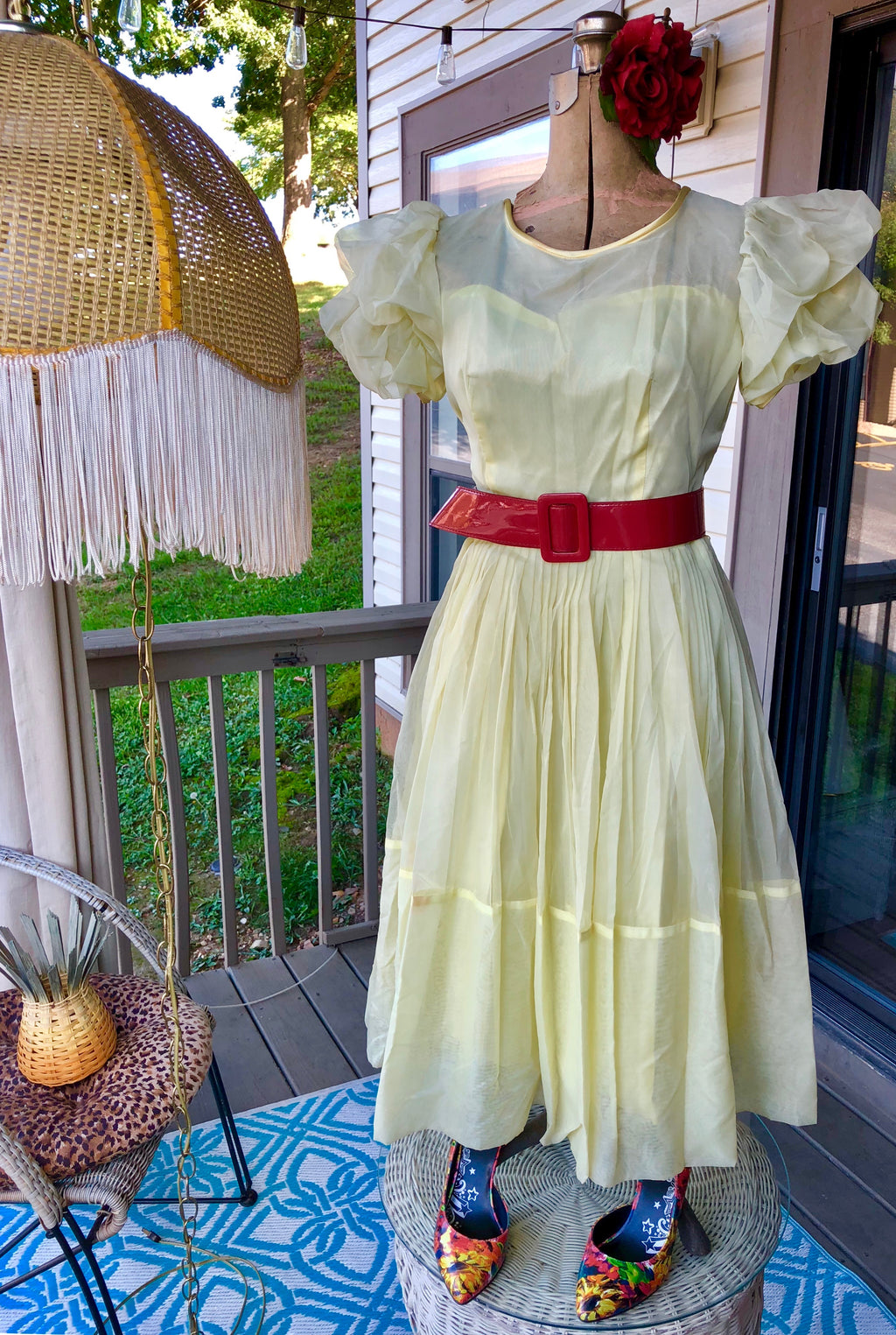 True Vintage 50's Yellow Tea Length Formal/Party Dress