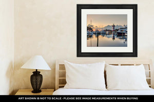 Framed Print, Hilton Head Island And Its Iconic Lighthouse Lit Up At Sunset With A Glass Like
