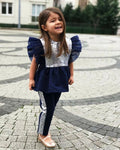 Baby Girl's Fashion Flared Sequin T-Shirt and Striped Pants Set