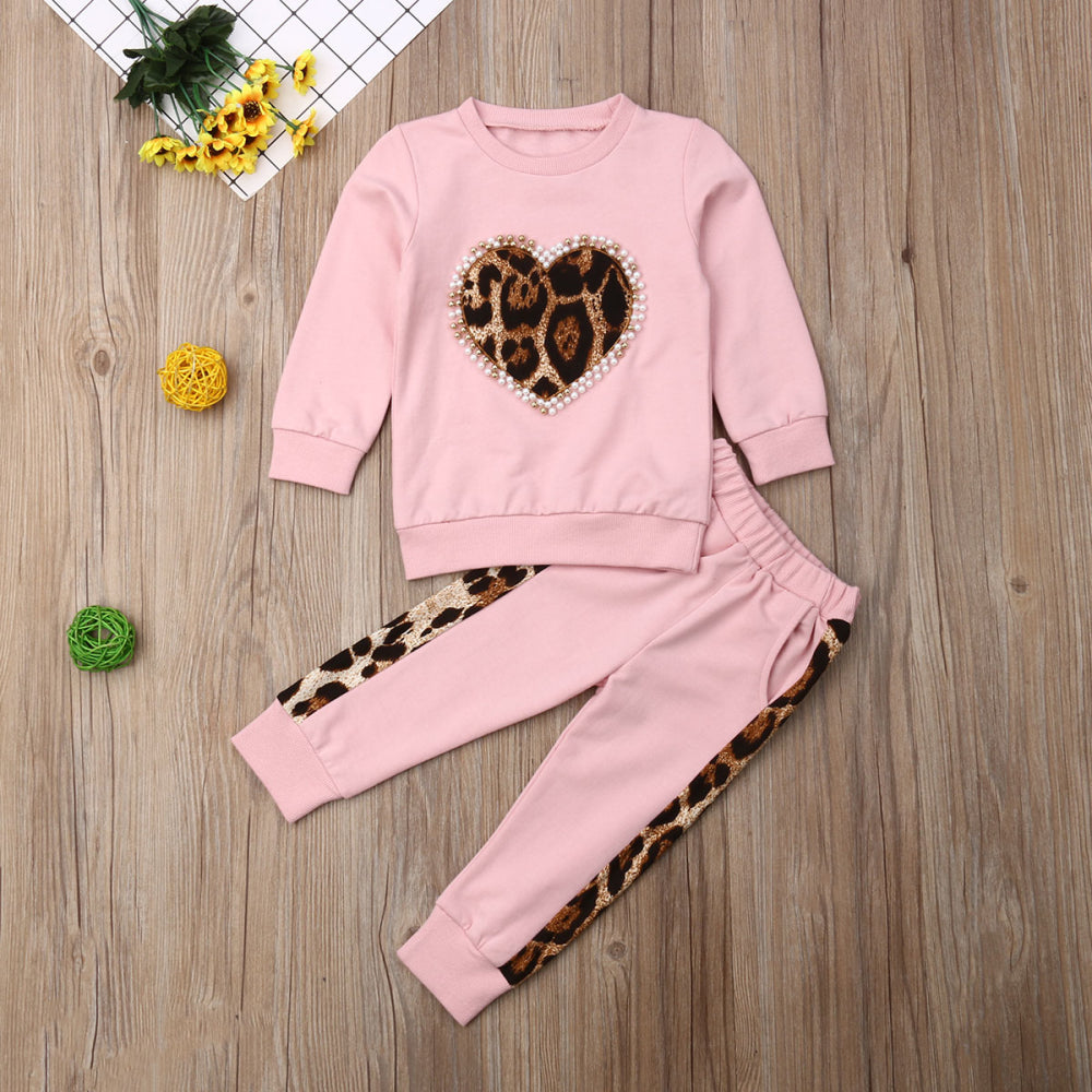 Girl's 2 Piece Leopard Heart Jogger Set