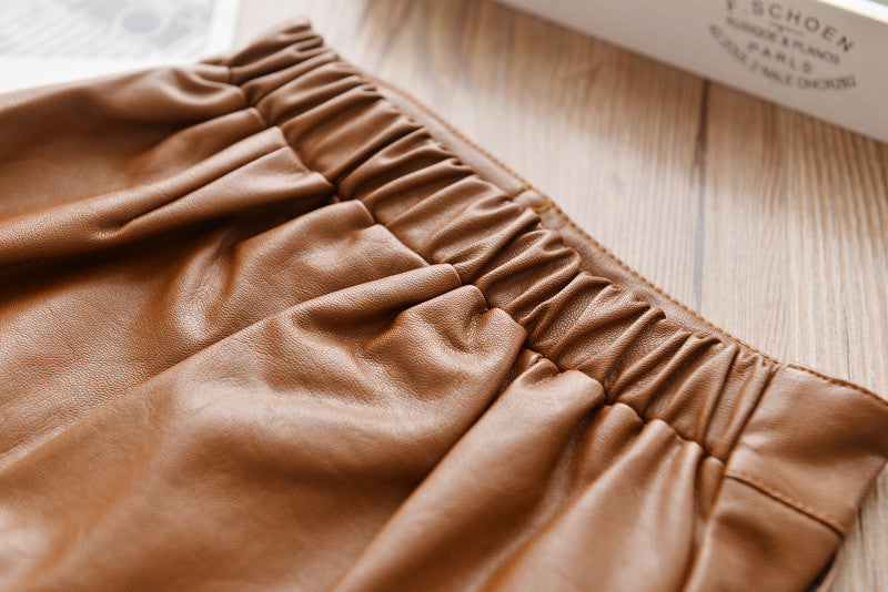 Girl's 70's Style PU Leather Skirt