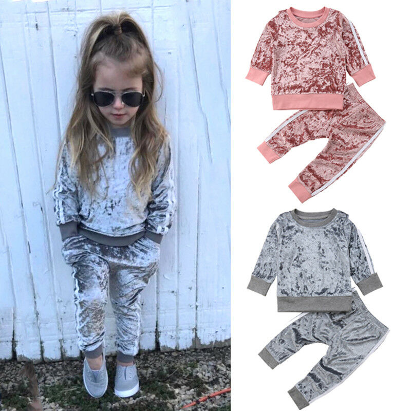 Girl's Velvet 2 Piece Jogger Set
