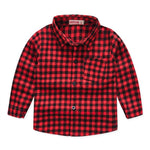 Boy's Long Sleeve Classic Plaid Shirts with Pocket