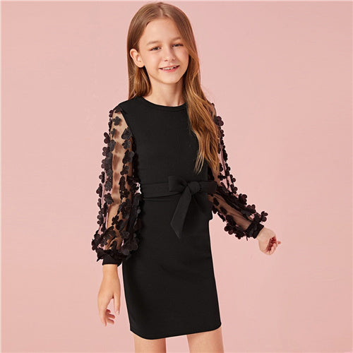 Girl's Long Sleeve Mesh Belted Dress