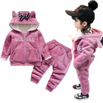 Girl's Plush Cotton Hoodie Pant Set