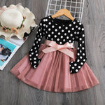 Girl's Long Sleeve Polka Dot Tutu Dress