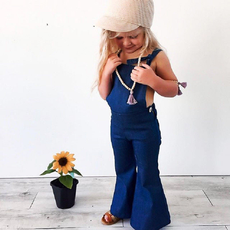 Girl's Flared Overall Denim Jumpsuit