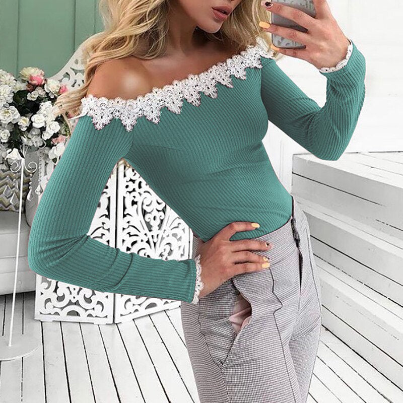 Off Shoulder Lace Long Sleeve Top