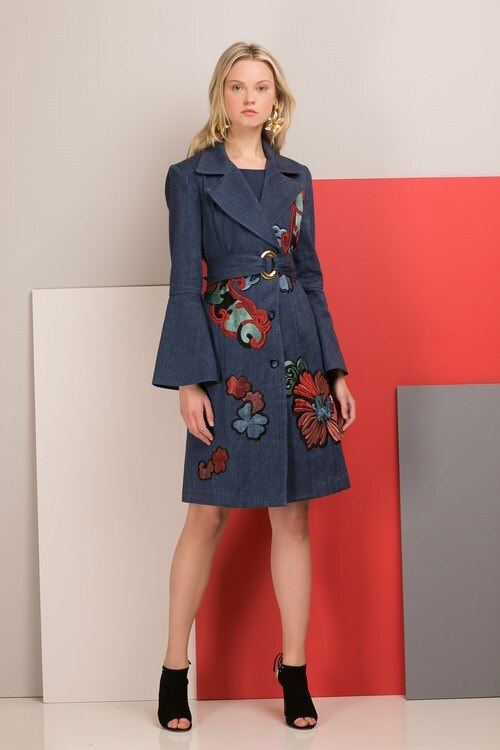 70's Style Denim Belted Dress