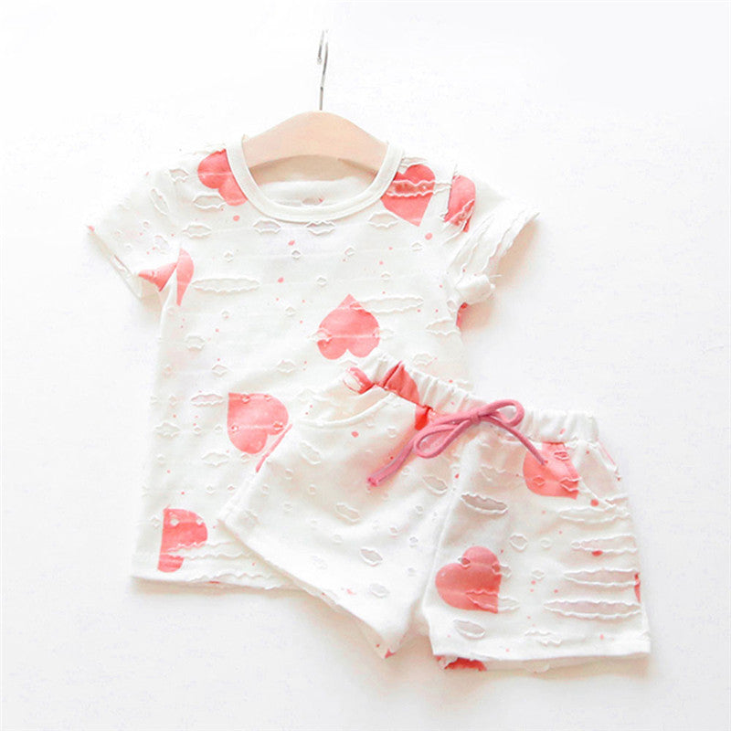 Hollow Out Short Sleeve Heart T-shirt Tops+Shorts Clothing Sets for Girls New Toddler Girls Summer Clothes Outfits Princess