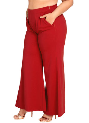 Women Plus Size Wide Leg Pants High Waist Casual Loose Trousers Pockets Solid Flare Pants Red