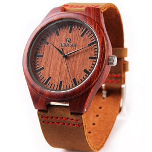 High Quality Red Sandalwood Watch with Leather Band